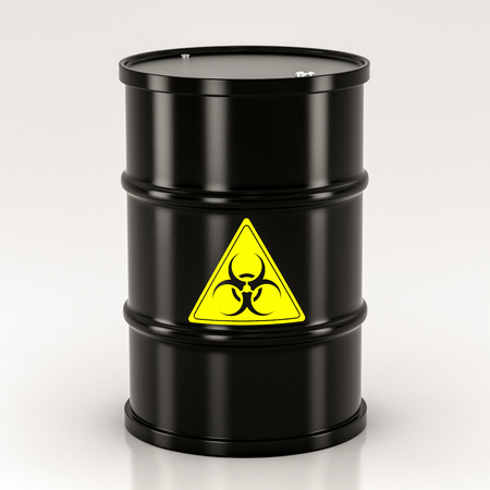 black biohazard barrel on a white background