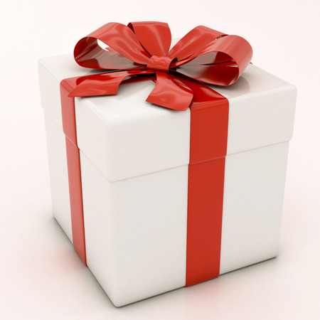 white gift boxes with red ribbon on a white background Banque d'images