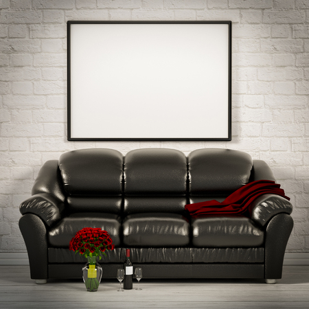 leather sofa: living white room with leather sofa 3d illustration
