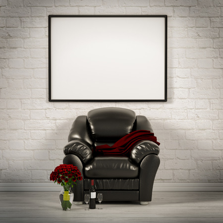leather armchair: living white room with leather armchair 3d illustration