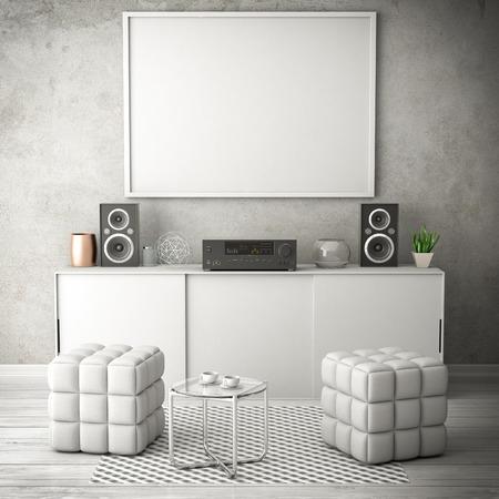 living white room 3d illustration