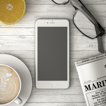 phone on on a wooden table, coffee and newspaper 3d illustration Banque d'images