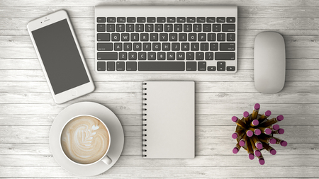 phone on on a wooden table, coffee and notebook 3d illustration