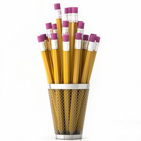 orange pencils in basket isolated on white background 3d illustration