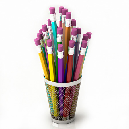 colored pencils in basket isolated on white background 3d illustration Banque d'images