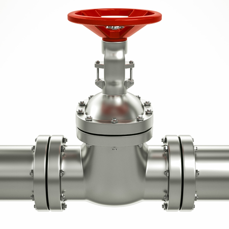 3d metal gas pipe line valves on a white background