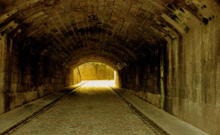 An old underpass in Aberdeen, Scotland tinted in glowing light photo