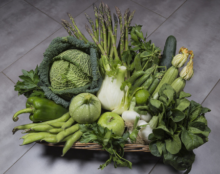 wicker basket: Green vegetables in wicker basket Stock Photo