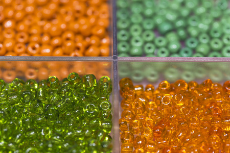 Lots of colorful plastic fusible beads used for arts and craft. Stock Photo