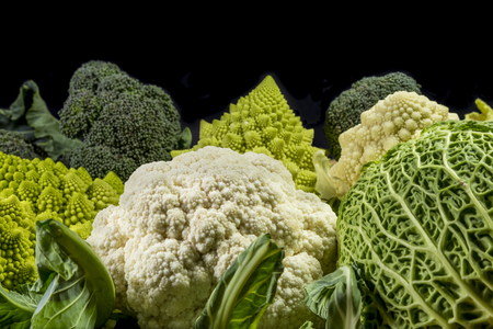 coliflor: varieties of vegetables: green savoy cabbage, broccoli, cauliflower and white roman