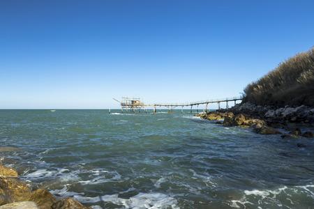 Fishing platform known as trebuchet in San Vito Chietino, Abruzzo, Italy