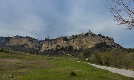 appennino: Panoramic view of the medieval village of Montefalcone Appennino