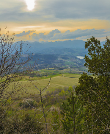 Panoramic view from the medieval village of Montefalcone Appennino (Italy)