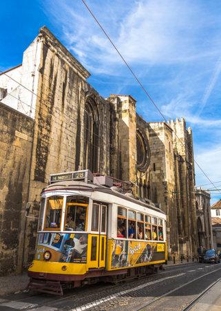 Historic Tram 28, the most famous tram line near Se de Lisboa, Portugal