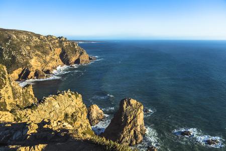 The cape Cabo da Roca in Portugal. Sintra in a sunny summer day