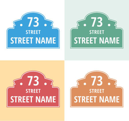urban decline: House numbers boards sign isolated. Stree and house numbers vector symbols. Street numbers vector illustration. Street sign isolated vector. House numbers iccons