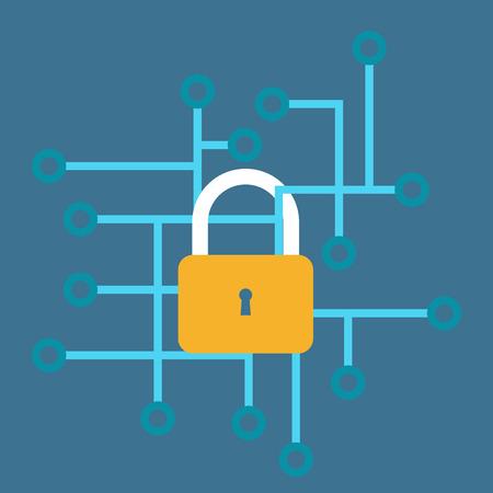 인터넷 보안 벡터 일러스트 레이 션. 인터넷 안전, 바이러스 및 스팸 공격. 웹 해커, 돈과 정보를 잃어 버렸습니다. 컴퓨터 바이러스, 컴퓨터 안전 및 보안 정보 스톡 콘텐츠 - 50448398