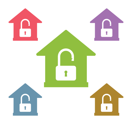 security symbol: Lock house vector icon shape. Home, house, lock. House security vector icon. House lock sign. Lock vector icon symbol. Illustration
