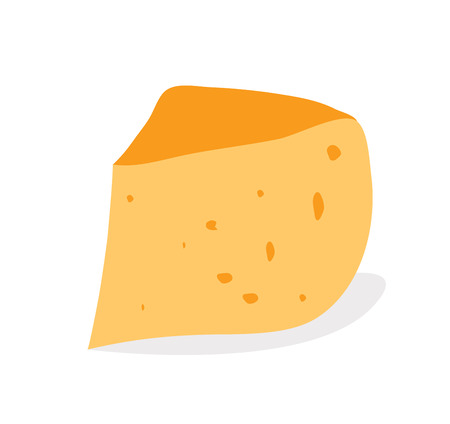 Piece of cheese isolated on a white background. Cheese vector illustration. Peace of yellow cheese icon. Cartoon style cheese piece. Cheese vector silhouette