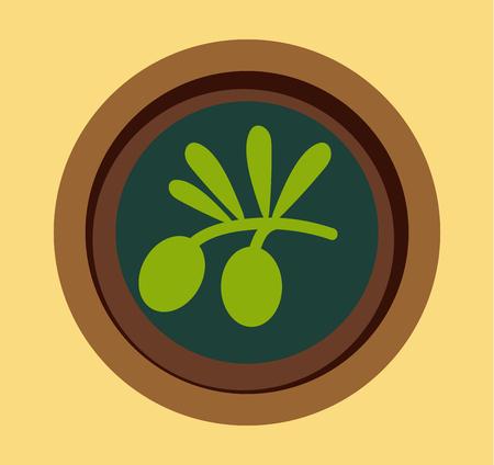 mediterranean diet: Black olives in plate isolated on backround vector illustration. Olive for food. Olive vector flat modern style. Some olive illustration Illustration