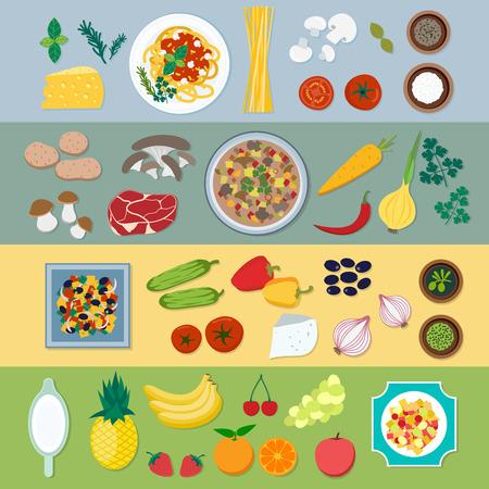 Nahrungsmittelbestandteile Vektor flach Illustration. Nahrungsmittelbestandteile mit verschiedenen Platten: Pasta, Suppe, Salat, Desserts. Gemüse und Lebensmittelzutaten auf den Tisch Ansicht von oben
