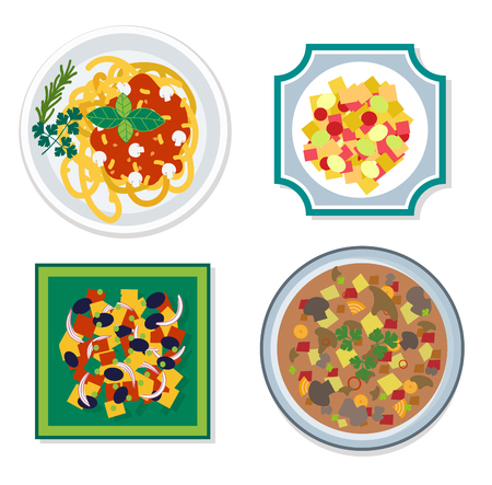 soup and salad: Food ingredients vector flat illustration. Food ingredients with different plates: pasta, soup, salad, desserts. Vegetables and food ingredients on the table top view