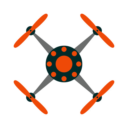 controlled: Aerial drone quadrocopters icons and emblems isolated on white. Vector illustration drone helicopter toy packing design. Flight controlled security quadrocopters drone helicopter toy. Illustration