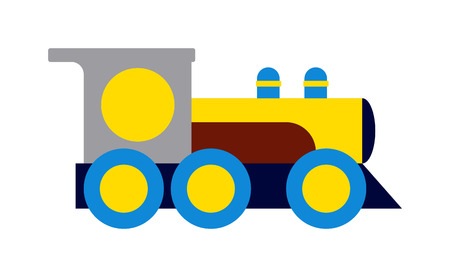 the locomotive isolated: Cartoon toy train with colorful blocks isolated over white and toy train vector set. Toy train color railroad and cartoon carriage game toy train fun leisure joy gift. Locomotive transportation set. Illustration