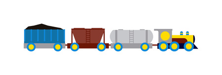 the locomotive isolated: Cartoon transportation train with colorful blocks isolated over white and toy train vector set. Flat train color railroad and cartoon cargo train fun leisure joy gift. Locomotive transportation Illustration
