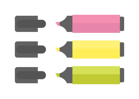 office supply: Multicolored highlighters office supply markers. Isolated on white background office supply markers and office supply markers vector set. School pencil education office supply markers accessories.