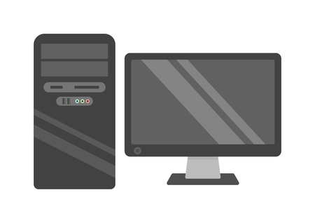 Modern desktop computer with wireless keyboard and desktop computer vector flat illustration. Desktop computer technology screen monitor and office wide wireless communication desktop computer. Illustration
