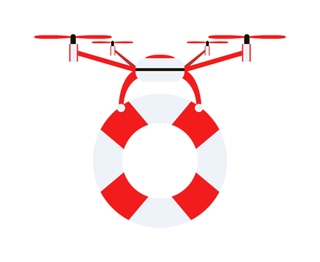 safeguard: Drone quadrocopters safeguard icons and emblems isolated on white. Vector illustration drone water safeguard helicopter toy design. Lifebuoy security drone helicopter toy. Lifebuoy circle isolated Illustration