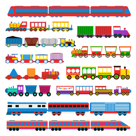 red brick: Cartoon toy train with colorful blocks isolated over white and toy train vector set. Toy train color railroad and cartoon carriage game toy train fun leisure joy gift. Locomotive transportation set. Illustration