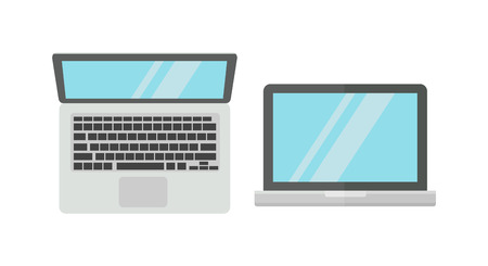 retina display: Modern laptop computer isolated on white background vector. Laptop keyboard isolated on white background technology communication vector. Flat laptop top view. Laptop technology front view vector