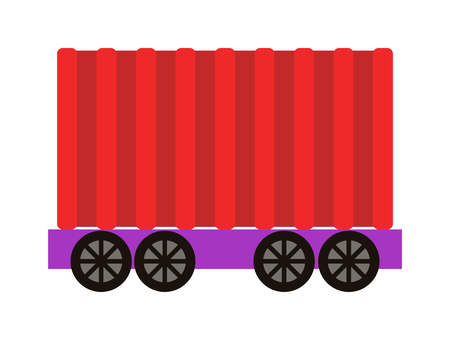 goods train: Vector train cargo wagon, freight car tank. Freight car transportation train cargo and railroad freight car wagon industry. Container industrial goods vehicle freight car. Illustration