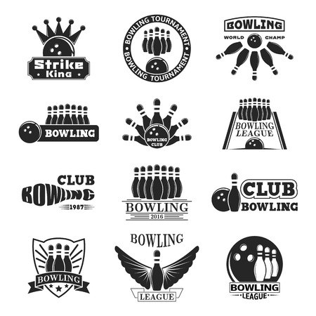 Vector set of bowling logos, bowling logo emblems and bowling logo design elements. Bowling logo logotype templates and bowling logo badges. Bowling logo wings victory, bowling ball sport item.