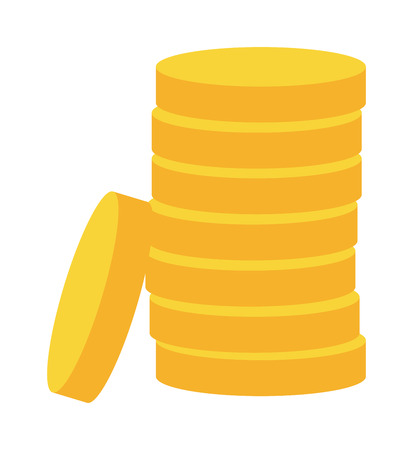 bank money: Stacks of gold money coins. Income money coins and money coins profits cash wealth gold concept banking. Money coins isolated on white background. Money coins vector illustration payment exchange.