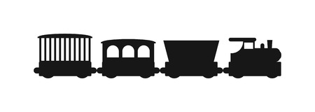 diesel train: Vector black silhouettes of trains. Trains silhouette locomotives with different wagons. Trains black silhouette locomotive transportation and trains silhouette carriage freight sign rail traffic.