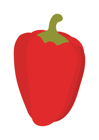red pepper: Vegetarian red pepper vector. Red vegetarian organic gourmet freshness orange cooking pepper. Colored red pepper healthy vegetable vegetarian food flat vector illustration. Illustration