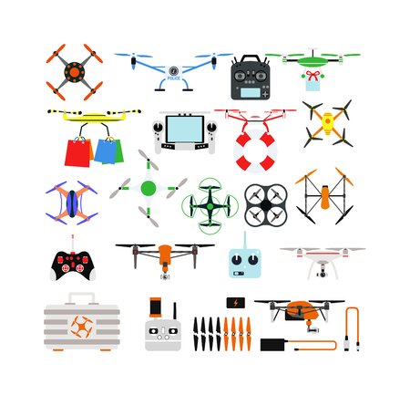 controlled: Set of aerial drone quadrocopters icons and emblems isolated on white. Vector illustration drone helicopter toy packing design. Flight controlled security quadrocopters drone helicopter toy.