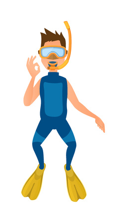 wetsuit: Scuba diver with diving mask, wetsuit and flippers isolated on white background. Diver isolated vector and diver isolated character. Diver isolated people extreme underwater snorkeling.
