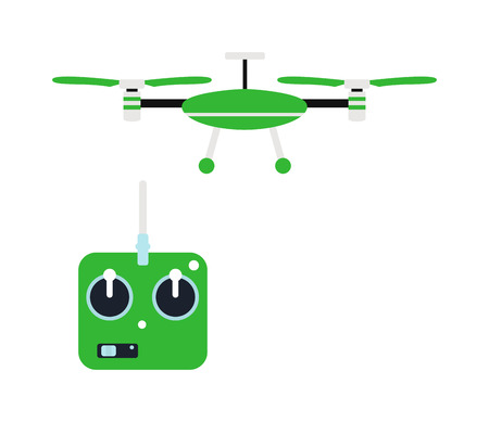 controlled: Drone quadrocopters icons and emblems isolated on white. Vector illustration drone helicopter toy packing design. Flight controlled security quadrocopters drone helicopter toy.