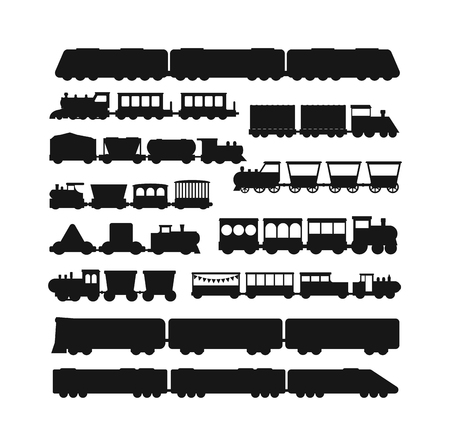 Stel vector zwarte silhouet silhouetten van de treinen. Treinen silhouet locomotieven met verschillende wagons. Treinen zwarte silhouet locomotief vervoer treinen silhouet van het goederenvervoer per spoor teken verkeer.