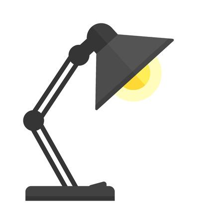 lamp power: Black desk lamp isolated on white background. Black lamp vector and light lamp power energy design. Black lamp electricity light electric object. Flat illuminated metal interior lamp. Illustration