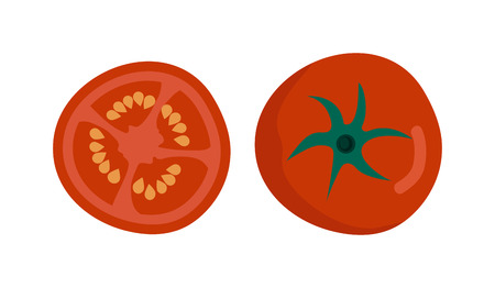 tomato slice: Fresh red tomato isolated on white. Tomato isolated vector red vegetable and food tomato slice isolated. Tomato isolated ingredient juicy vegetarian healthy food. Single tomato slice plant.