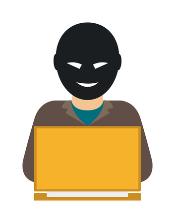 Hacker on laptop. Hooded computer hacker stealing information with laptop and computer hacker laptop. Theft danger programmer hack, stealing computer hacker anonymous secure fraud man.