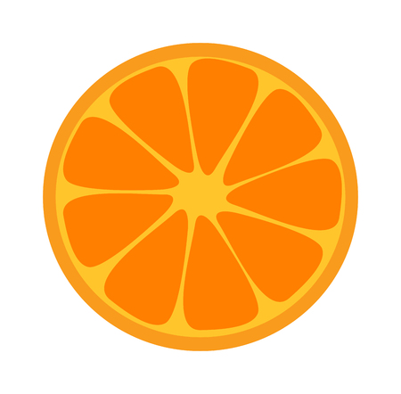 orange slice: Slice of fresh orange isolated on white background and orange slice fruit. Orange slice vector citrus food and orange slice juicy organic sweet vitamin. Orange slice tasty healthy cut exotic fruit.