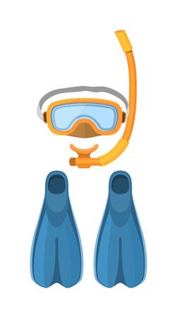 flipper: Scuba diving vector equipment. Sport underwater diving vector, water sea, glove and diving vector flashlight, mask and snorkel. Diving vector flipper swimming symbol aquatic adventure.