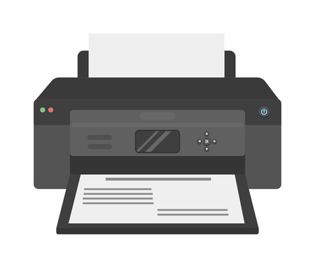 laser printer: Printer flat vector icon and illustration of printer icon isolated on white. Printer machine, equipment, design and printer paper office technology business tool. Scanner photocopier printer. Illustration