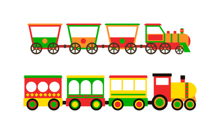Cartoon toy train with colorful blocks isolated over white and toy train vector set. Toy train color railroad and cartoon carriage game toy train fun leisure joy gift. Locomotive transportation set.